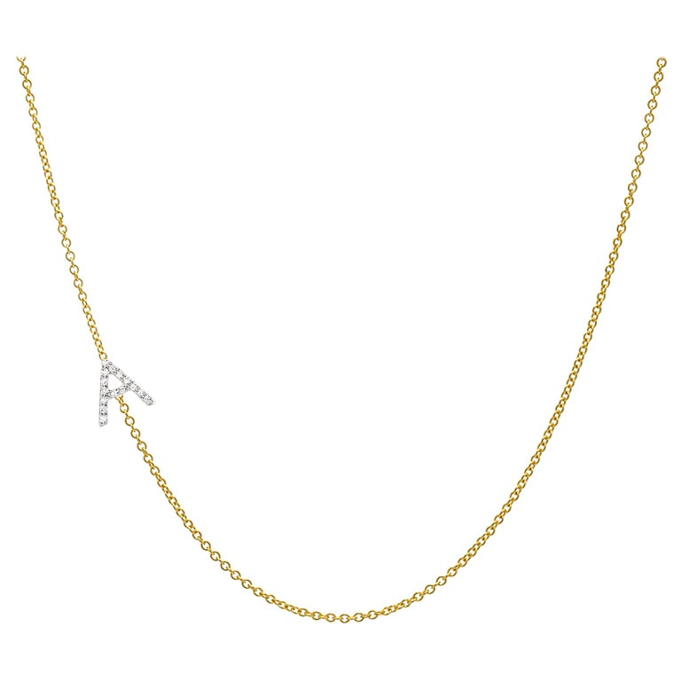 Diamond Asymmetrical Initial Necklace, A For Sale