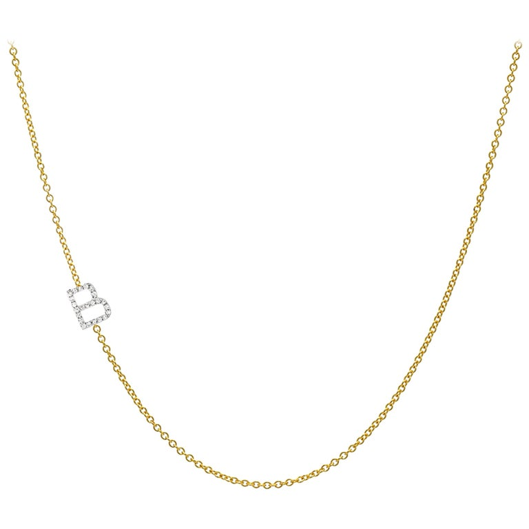 Diamond Asymmetrical Initial Necklace, B For Sale