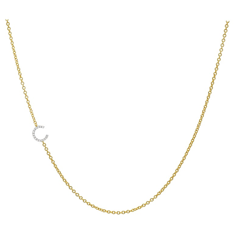 Diamond Asymmetrical Initial Necklace, C For Sale