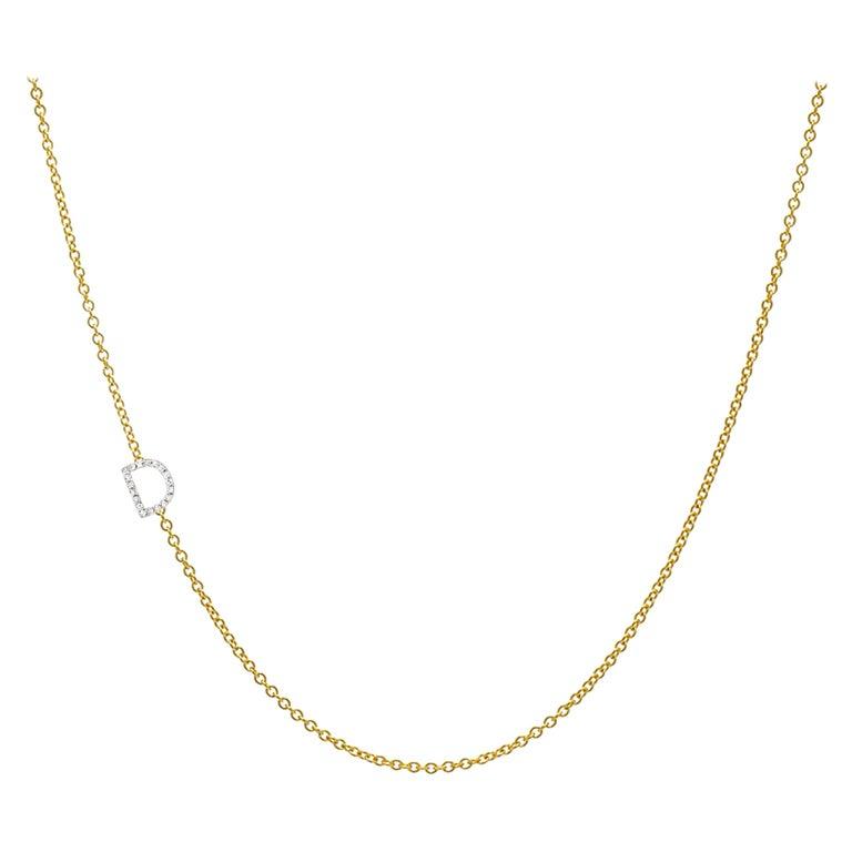 Diamond Asymmetrical Initial Necklace, D For Sale