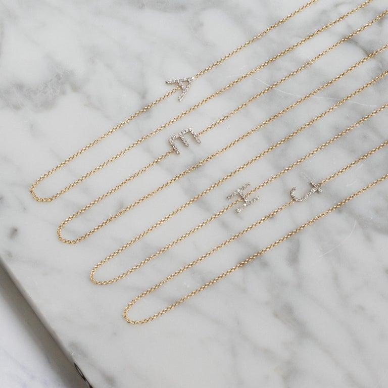 Diamond Asymmetrical Initial Necklace, M For Sale 1