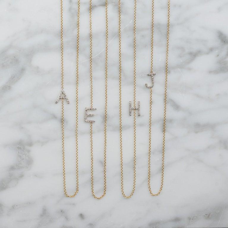 Diamond Asymmetrical Initial Necklace, M For Sale 2