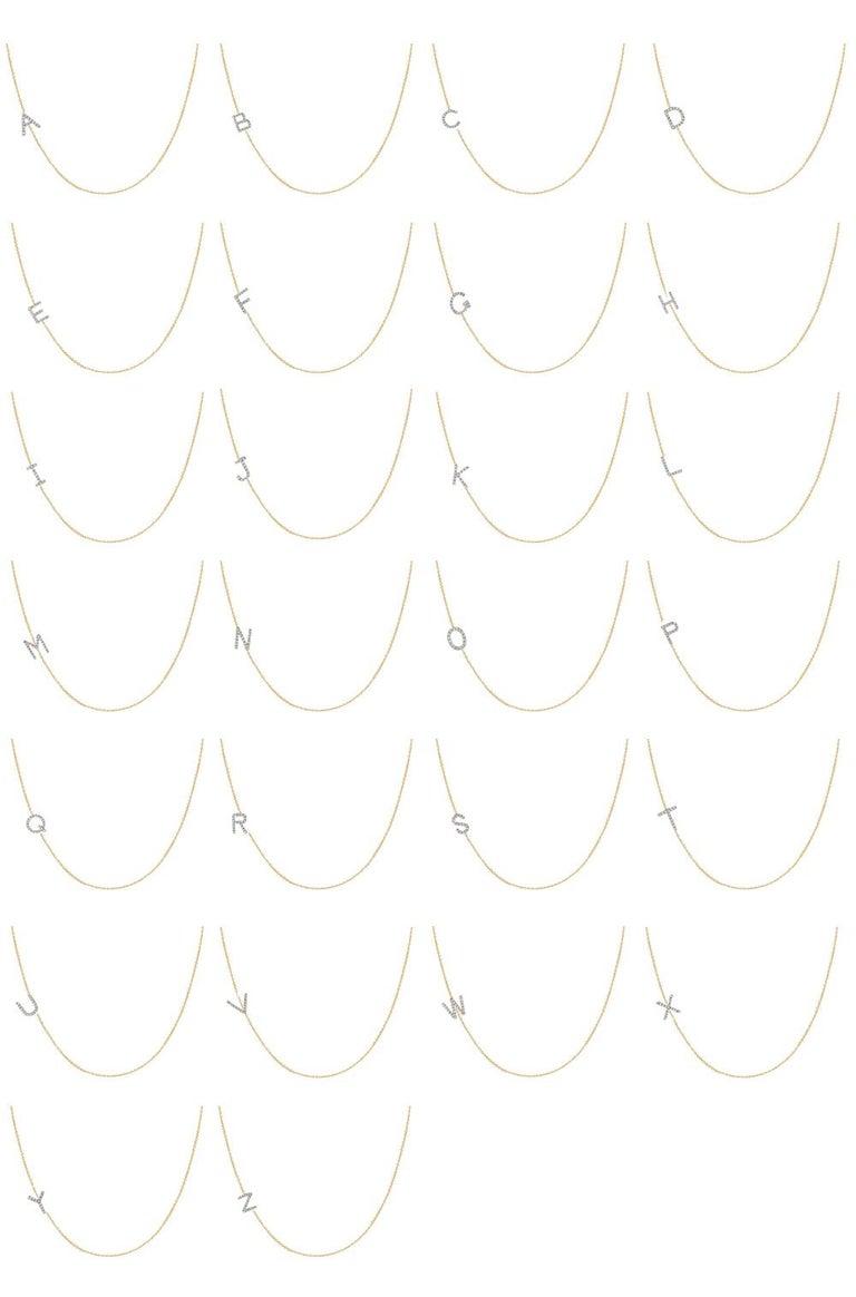 Diamond Asymmetrical Initial Necklace, M For Sale 3
