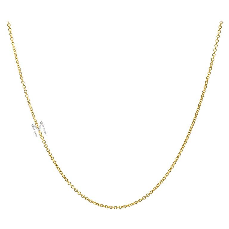 Diamond Asymmetrical Initial Necklace, M For Sale