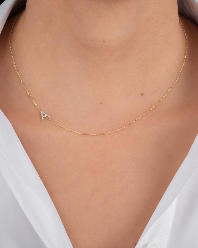 Round Cut Diamond Asymmetrical Initial Necklace, W For Sale