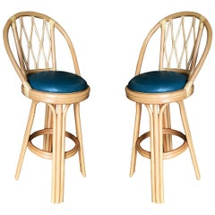 Diamond Back Rattan Swivel Bar Stool, Pair