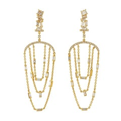 Diamond Baguette 18 Karat Gold Chain Earrings