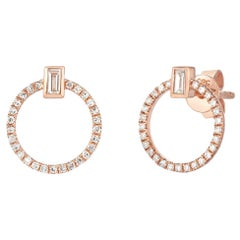 Diamond Baguette and Round Diamond Circle Studs, Ben Dannie