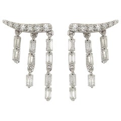 Diamond Baguette and Tassel Earrings, Large