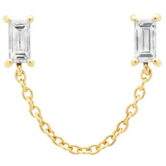Diamond Baguette Chain Stud, Gold, Ben Dannie