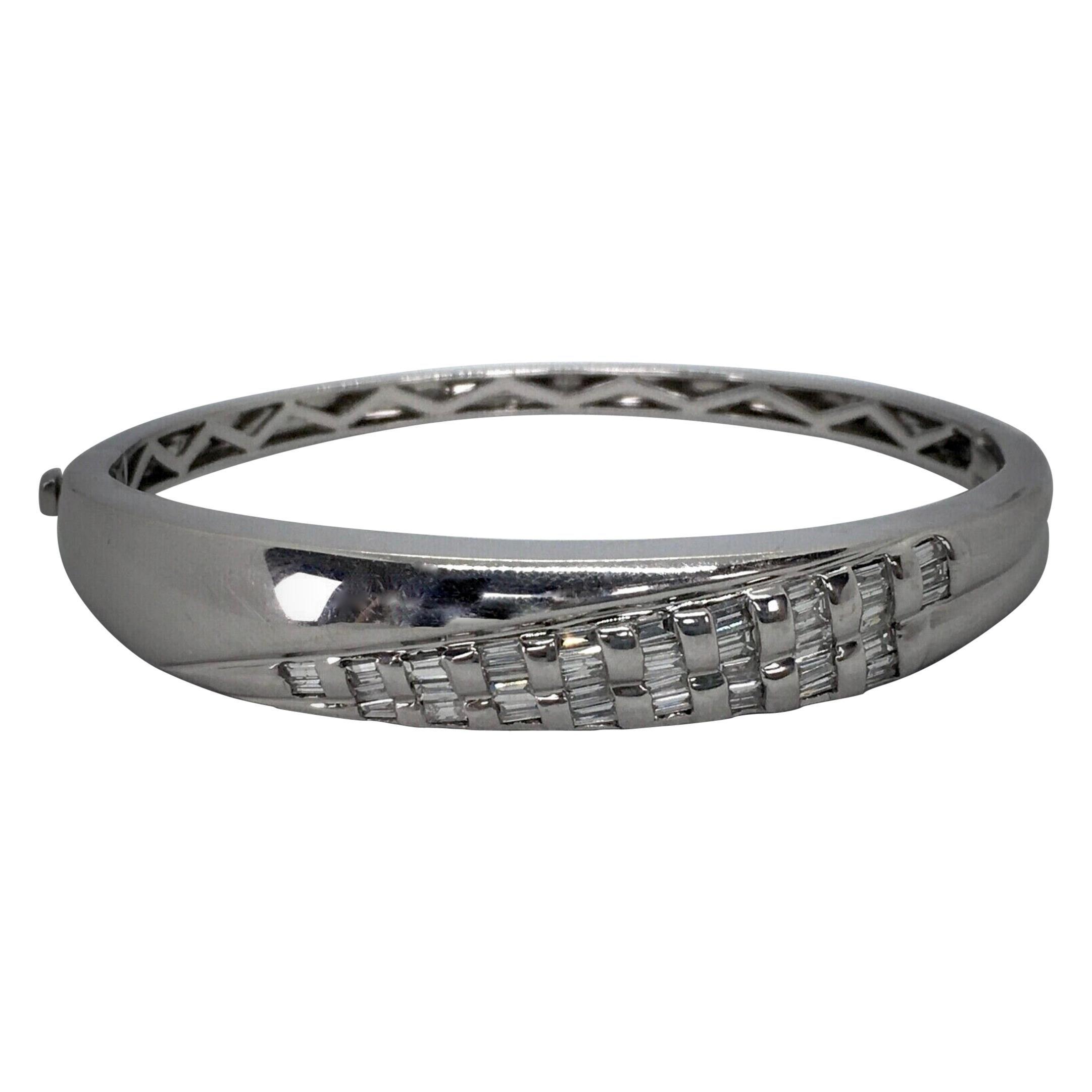 Diamond Baguette Cuff Bracelet 18 Karat White Gold 36.3g