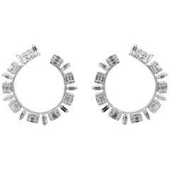 Diamond Baguette Illusion Hoop Earring in 18 Karat Gold