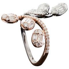 Diamond Baguette Illusion Two-Tone Fashion Ring in 18 Karat Gold