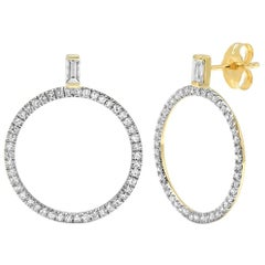 Diamond Baguette Loop Earrings, Gold, Ben Dannie