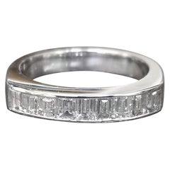 Diamond Baguette Wedding Ring Set in 14 Karat White Gold Channel Setting
