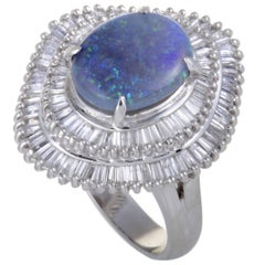 Diamond Baguettes and Blue Opal Platinum Ring