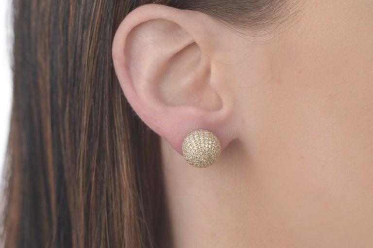 Contemporary Diamond Ball Earrings For Sale