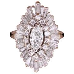 Diamond Ballerina Cocktail Ring 3.25 Carat in Platinum