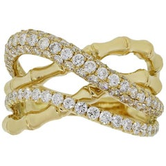 Diamond Bamboo Crossover Ring