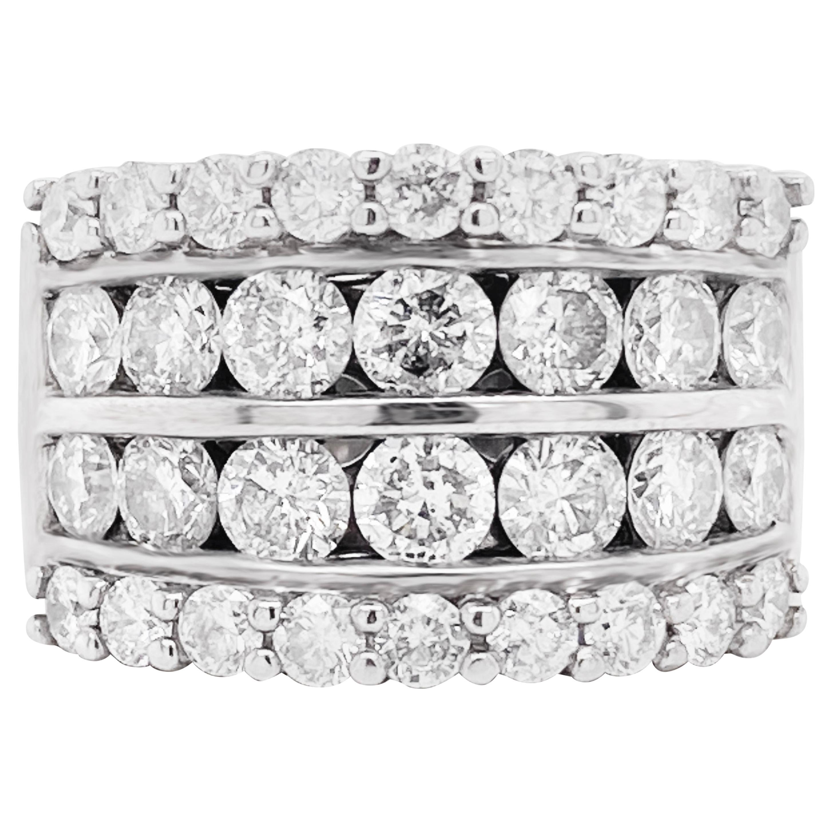 Diamond Band Ring, 14 Karat Gold, 3.5 Carat, 4 Rows of Diamonds, Anniversary