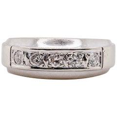 Diamond Band Ring, White Gold Five Diamonds Wedding/Anniversary, 1950