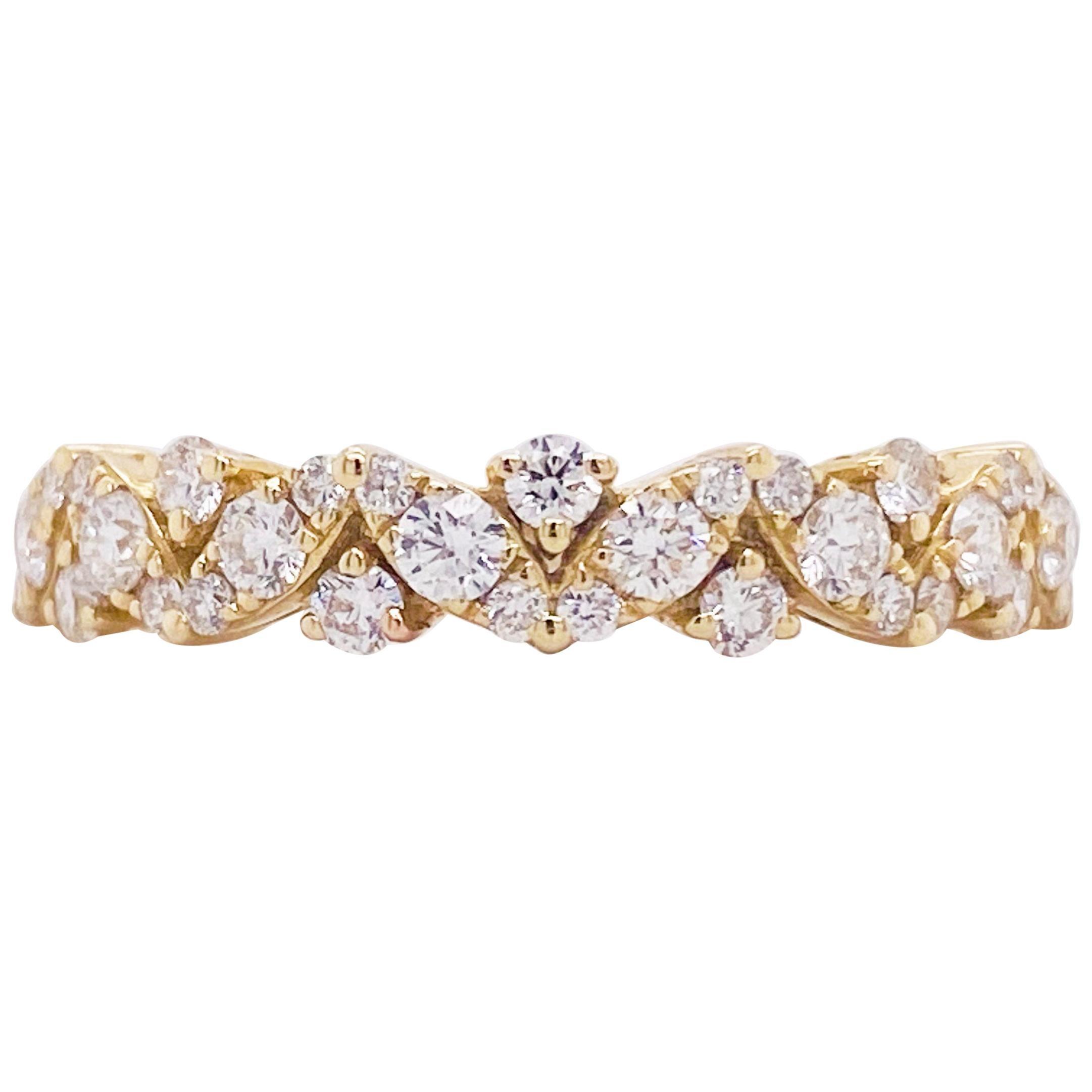 Diamond Band Ring, 14 Karat Yellow Gold Wedding Band, Zig Zag Diamond Band