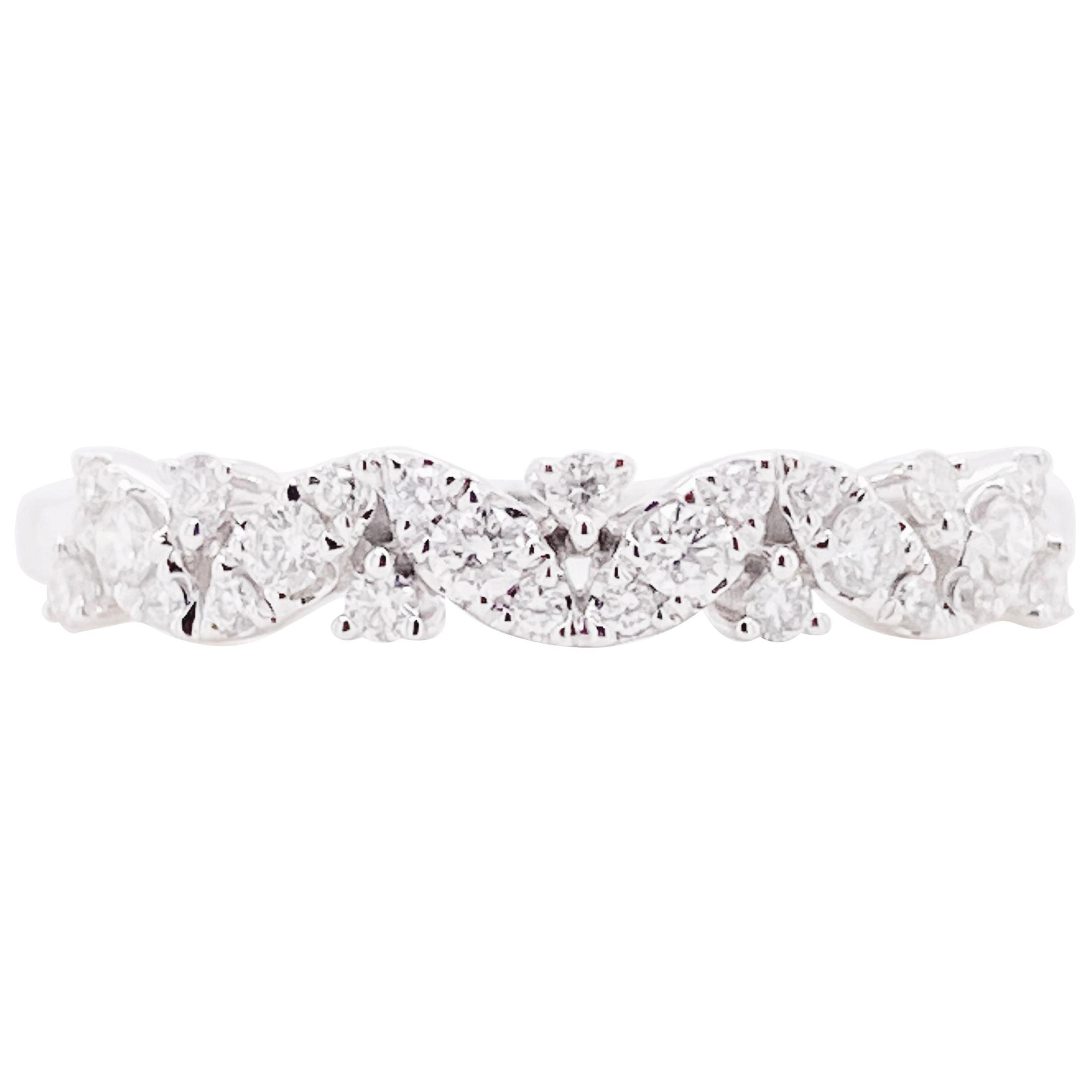Diamond Band Ring, 14 Karat White Gold Wedding Band, Zig Zag Diamond Band