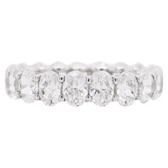 Diamond Band Ring, Oval Cut, Eternity Band, 14 Karat White Gold, Wedding
