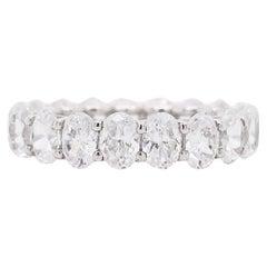 Diamond Band Ring, Oval Cut, Eternity Band, 14 Karat White Gold, Wedding