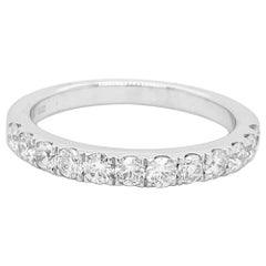 Diamond Band Ring, White Gold, Wedding Band, Half Infinity .63 Carat Diamonds