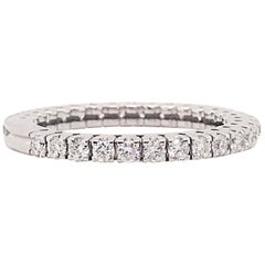 Diamond Band with Round Brilliant Diamonds, 14 Karat Gold, Diamond Stack Ring