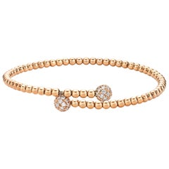 Diamond Bangle 0.40 Carats 14 Karat Gold Charm Bracelet