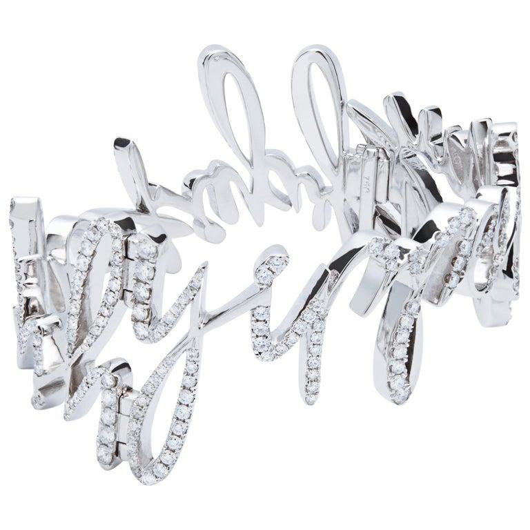 Diamond Bangle, 18 Karat White Gold For Sale