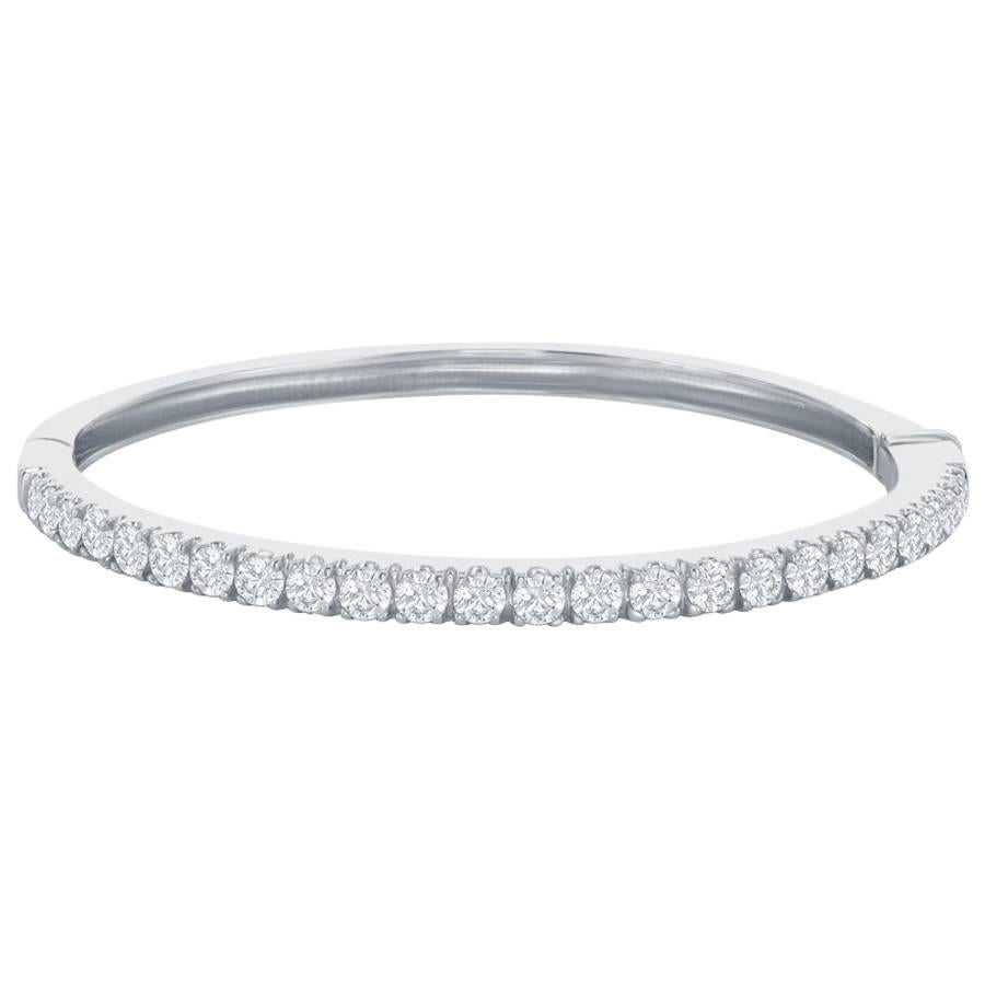 14K White Diamond Bangle 3 carats.