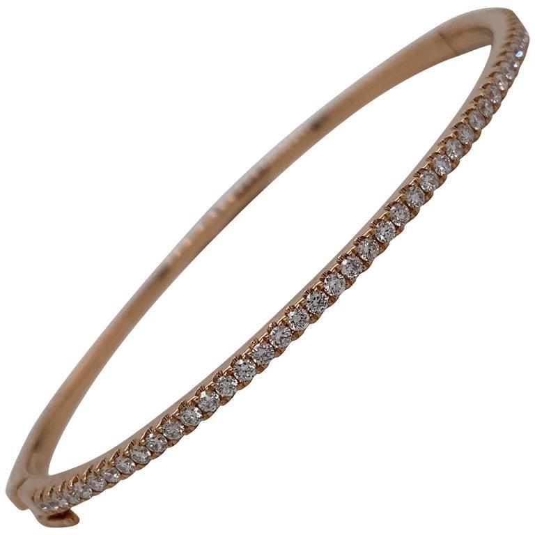 HARBOR D. Diamond Bangle Bracelet 0.85 Carat 18 Karat Rose Gold For Sale