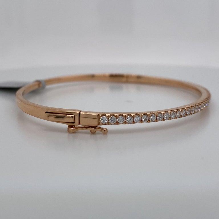 Round Cut HARBOR D. Diamond Bangle Bracelet 0.85 Carat 18 Karat Rose Gold For Sale