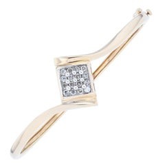 Diamond Bangle Bracelet, 10 Karat Yellow Gold Round Cut .50 Carat
