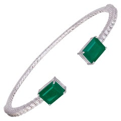 Diamond Bangle Bracelet 18K White Gold Diamond 0.77 Cts/30 Pcs Emerald 3.18 Cts