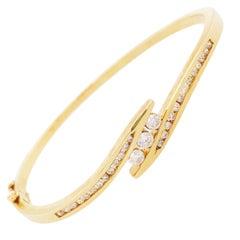 Diamond Bangle Bracelet, Custom 3/4 Carat Diamond & Gold Bypass Bangle Bracelet