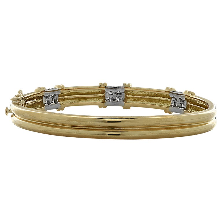 Modern Diamond Bangle Bracelet For Sale