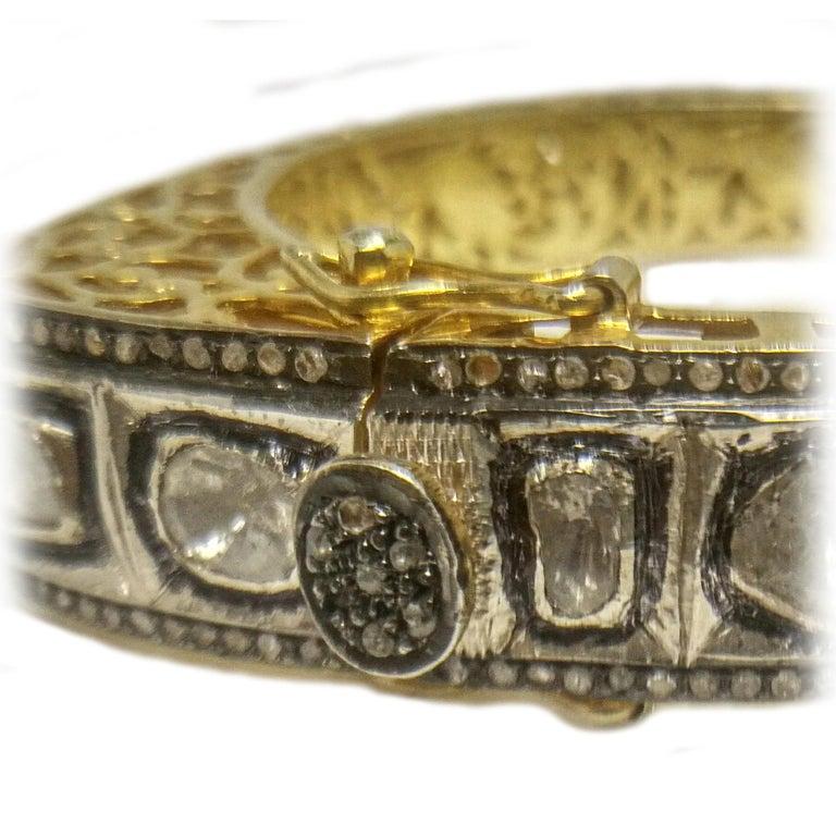 Contemporary 8.50 Carats Fancy Cut Diamond Mughal Style Bangle Bracelet For Sale