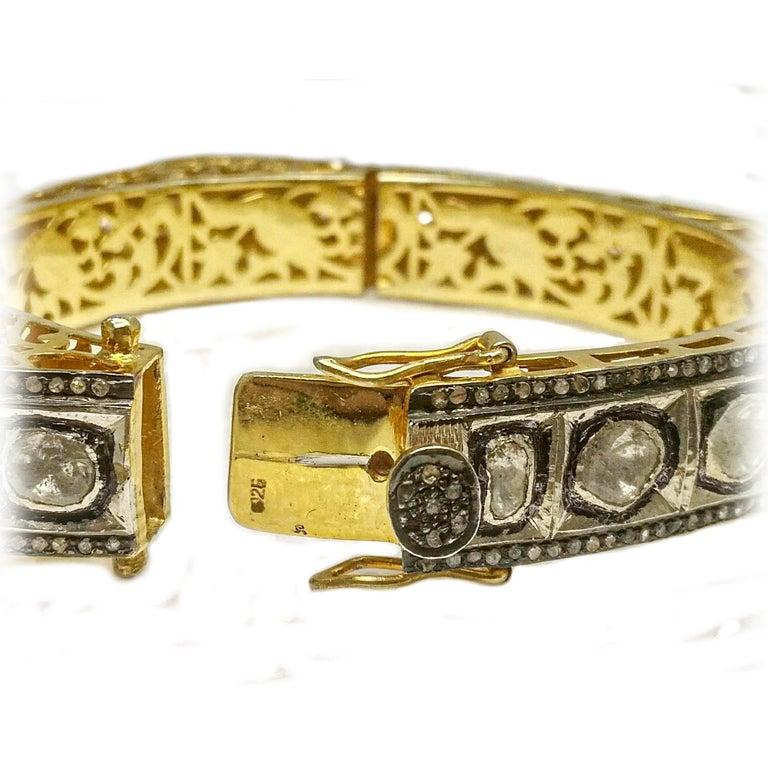 8.50 Carats Fancy Cut Diamond Mughal Style Bangle Bracelet For Sale 1