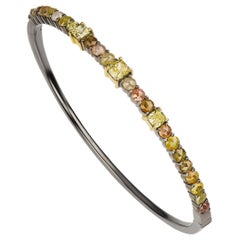 Diamond Bangle in 18k Yellow Gold with Black Rhodium