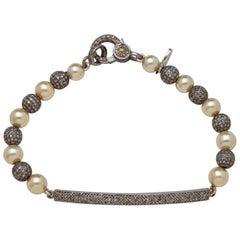 Diamond Bar & Bead Sterling Silver Bracelet with Fine Akoya Pearls