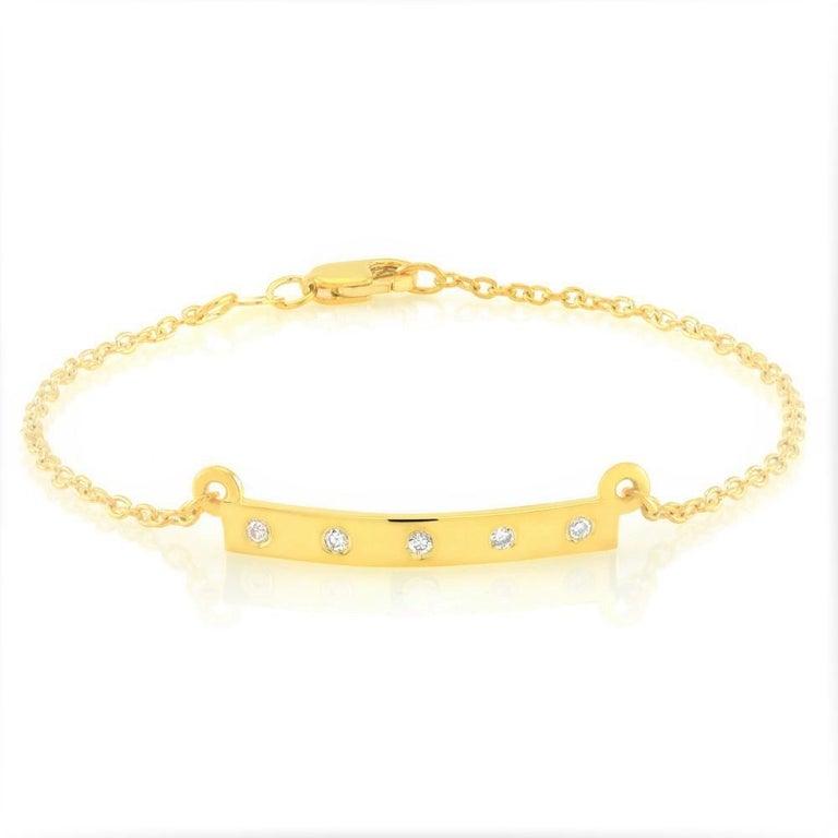 Modern Five Diamond Bar Silver Bracelet  For Sale