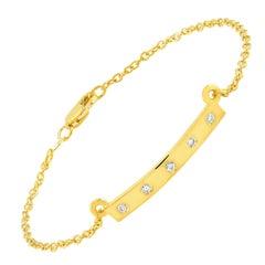 Five Diamond Bar Silver Bracelet