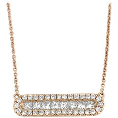 Diamond Bar Necklace 0.57 Carat Rose Gold