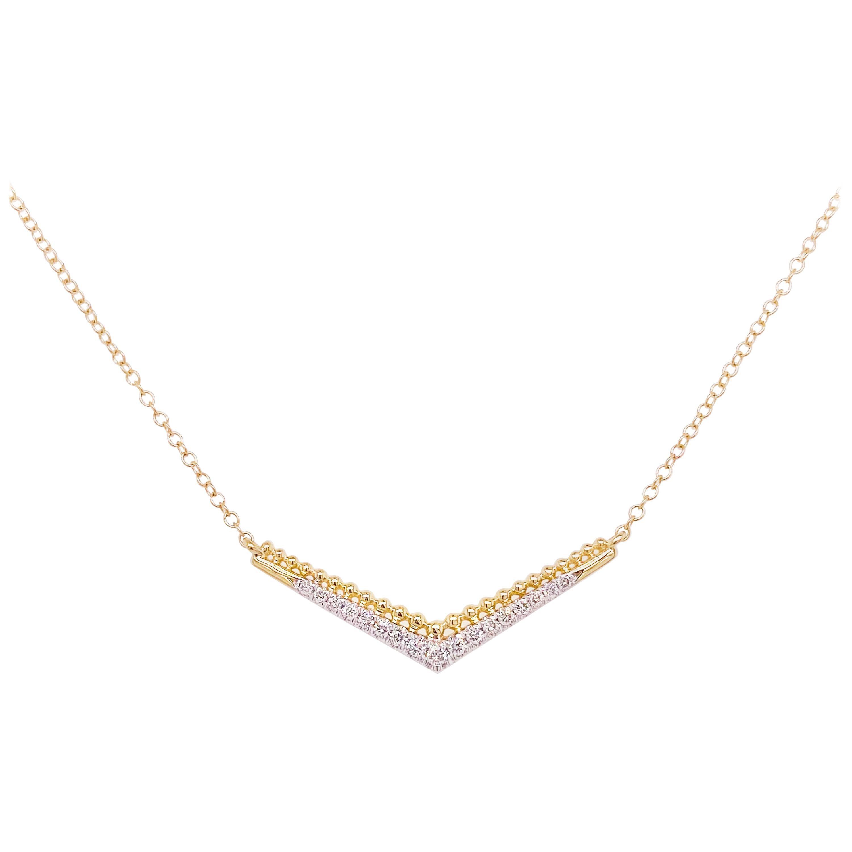 Diamond Bar Necklace, 14 Karat Yellow Gold Beaded Chevron, NeckMess, NK5943Y45JJ