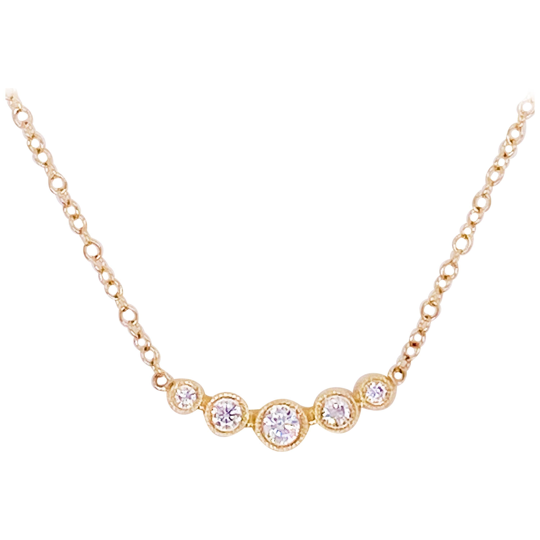 Diamond Bar Necklace, 14 Karat Yellow Gold Curved Round Bar, NK5424Y45JJ