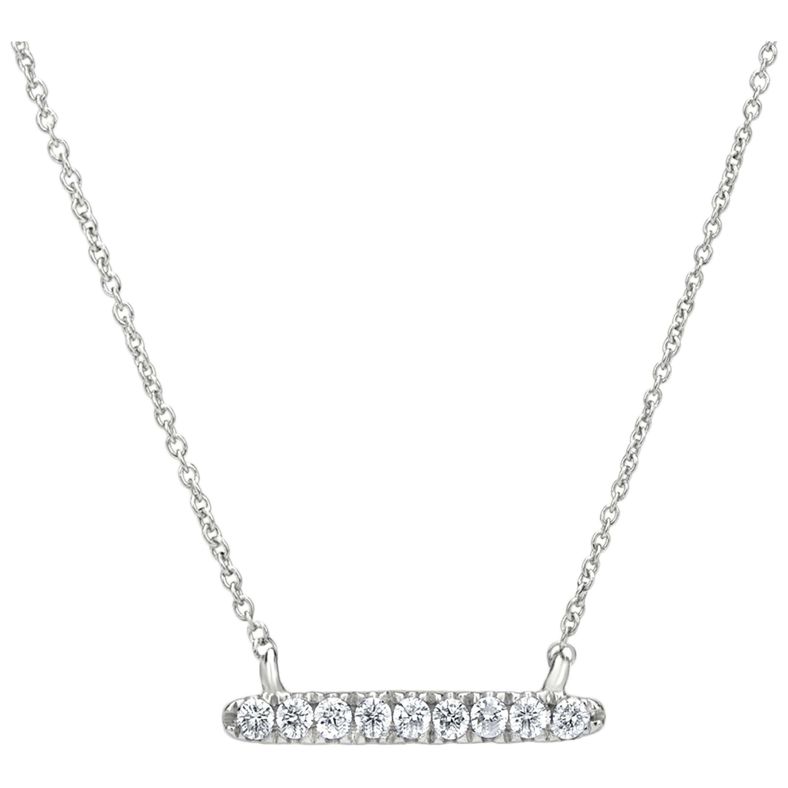 Diamond Bar Pendant Necklace in 18K White Gold
